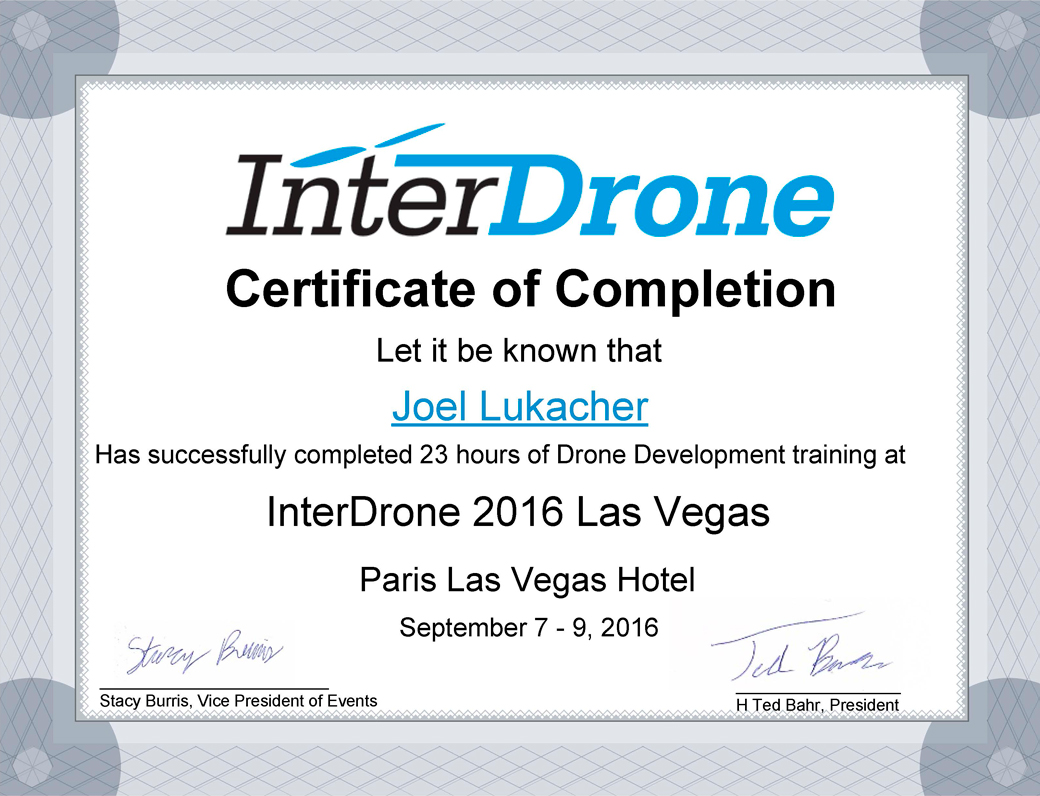 Certifications professional drone pilot interdrone certificate of completion1040 xflitez Image collections