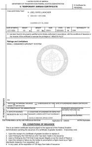 FAA Temp UAS Certificate